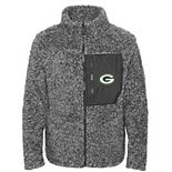 Girls Youth Charcoal Green Bay Packers Teddy Full-Zip Jacket