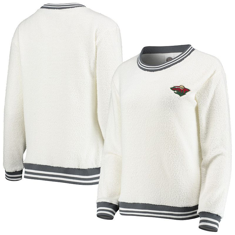 Women's Concepts Sport Cream/Charcoal Minnesota Wild Granite Sherpa Pullover Sweatshirt, Size: XL, Beige Over
