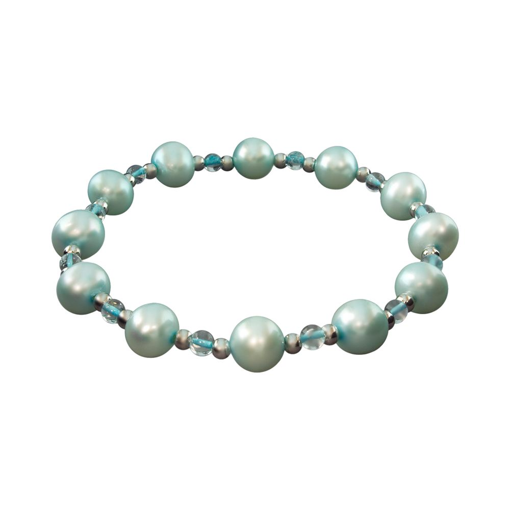 Sterling Silver Dyed Freshwater Cultured Pearl Stretch Bracelet