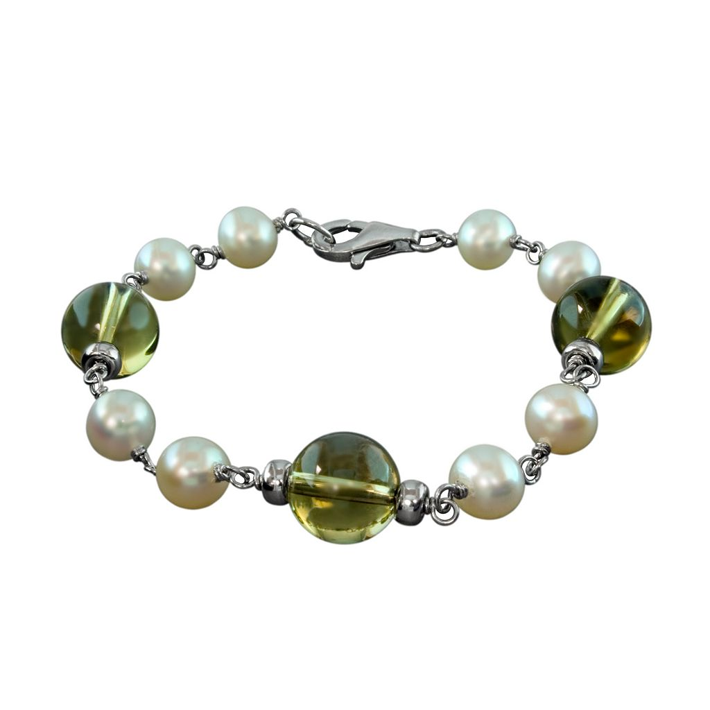 Sterling Silver Freshwater Cultured Pearl & Lemon Quartz Bracelet