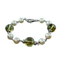 Sterling Silver Freshwater Cultured Pearl & Lemon Quartz Bracelet