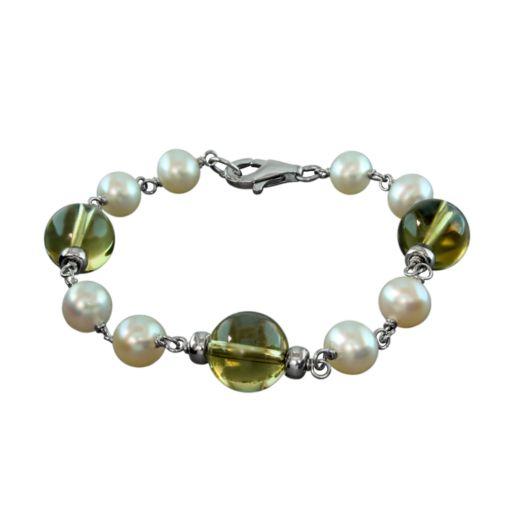 Sterling Silver Freshwater Cultured Pearl and Lemon Quartz Bracelet