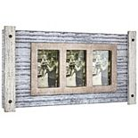 Wood Metal Hanging 3 Picture Photo Frame