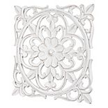 Hand-Carved Distressed Floral Medallion Wall Decor
