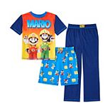 Boys 4-14 Nintendo Mario Top, Shorts & Pants Pajama Set