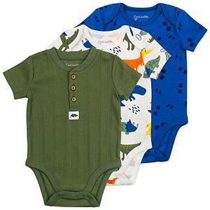 Baby Mac & Moon 3-Pack Short-Sleeve Bodysuits in Dinosaur Print