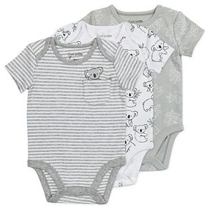 Baby Mac & Moon 3-Pack Short-Sleeve Bodysuits in Gray Koala Prints