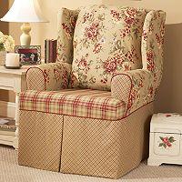 Sure Fit™ Lexington Floral T-Cushion Wing Chair Slipcover