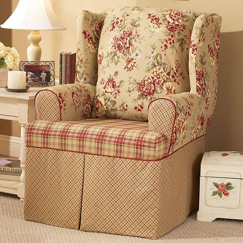 sure fit lexington floral t cushion wing chair slipcover - Wing Chair Slipcover