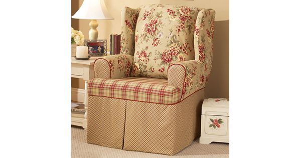 floral slipcovers for wingback chairs | Sure Fit Lexington Floral T-Cushion Wing Chair Slipcover