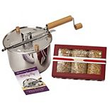 Wabash Valley Farms Stainless Steel Whirley Pop Popper & Hull-less Popcorn Gift Box Set