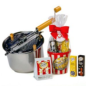 Wabash Valley Farms Stainless Steel Whirley-Pop Popcorn Popper with Ceramic Cello Popcorn Gift Set