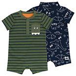 Baby Boy Mac & Moon 2-Pack Rompers in Dinosaur Print