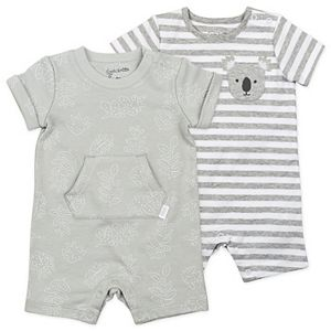 Baby Mac & Moon 2-Pack Rompers in Gray Leaf Print and Stripes