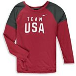 Girls Youth Nike Red Team USA Tailgate Long Sleeve T-Shirt