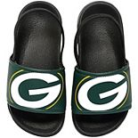 Youth Green Bay Packers Cropped Big Logo Flip Flops