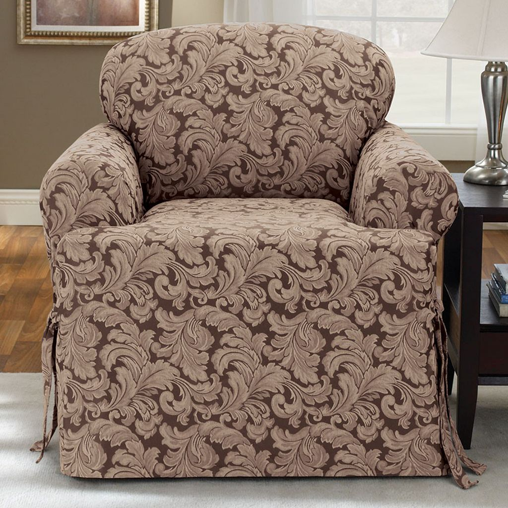 Sure Fit™ Scroll Leaf T-Cushion Chair Slipcover