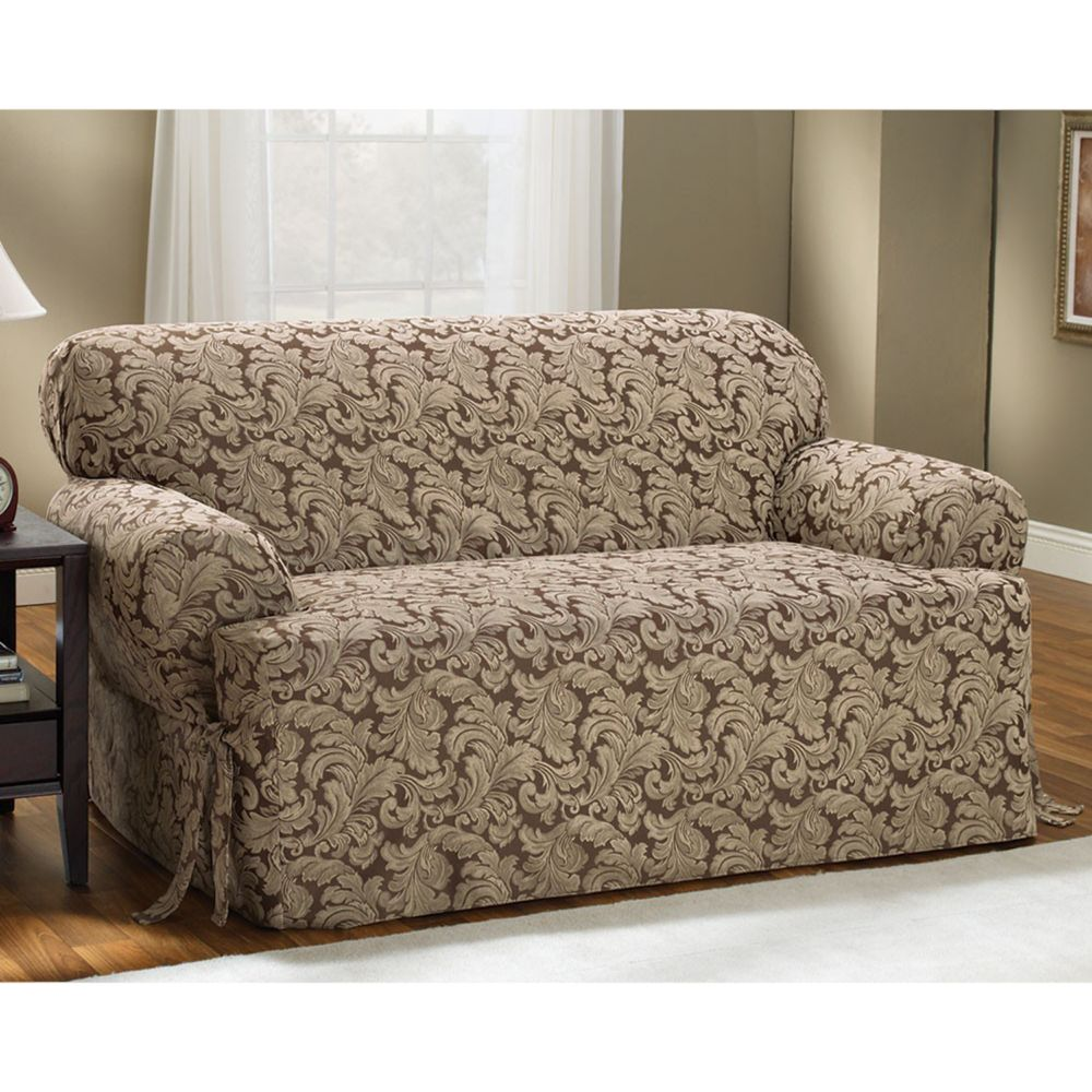 Sure Fit™ Scroll Leaf T-Cushion Sofa Slipcover