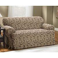 Sure Fit™ Scroll Leaf T-Cushion Sofa Slipcover