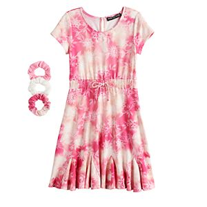 Girls 7-16 Three Pink Hearts Printed Skater Dress with Matching Scrunchies in Regular & Plus Size