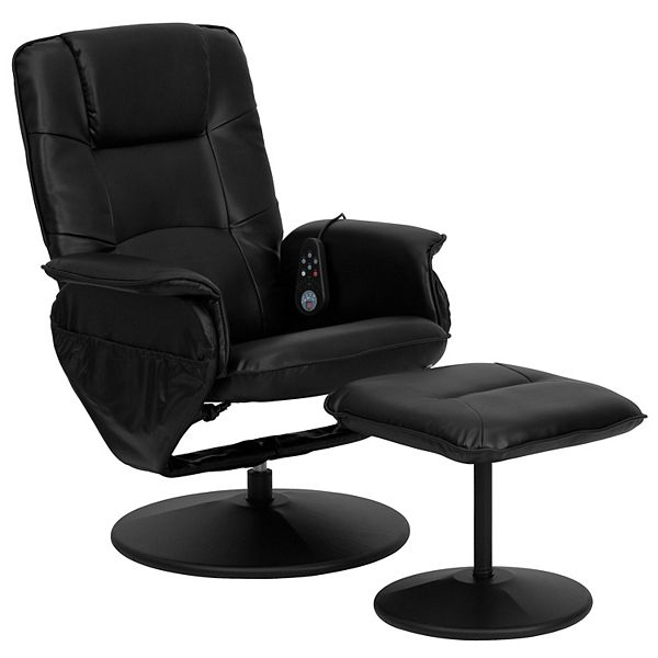 Flash Furniture Massage Recliner Chair, Flash Furniture Reclining Office Chair With Ottoman