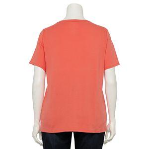 Plus Size Croft & Barrow® Essential V-Neck Short Sleeve Top