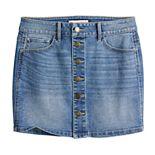 Girls 7-16 & Plus Size SO® Button Front Denim Skirt