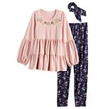 Girls 7-16 Knitworks 3 Piece Tired Embroidered Top, Floral Leggings & Scrunchie Set