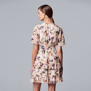 Petite Simply Vera Vera Wang Ruffle Faux-Wrap Dress