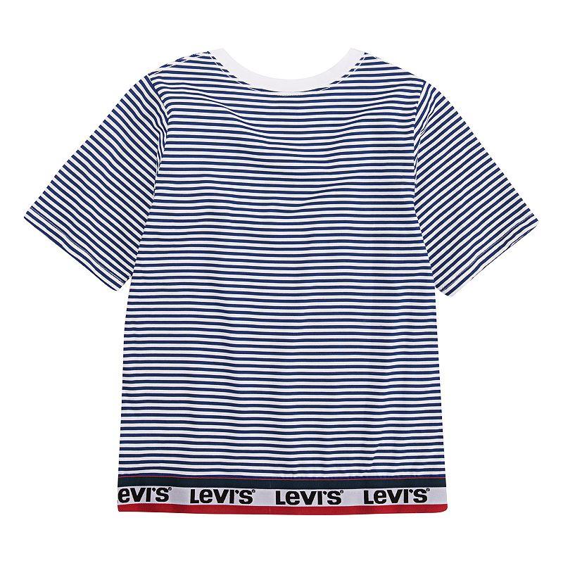 Girls 7-16 Levi's Striped Logo Trim Tee, Girl's, Size: XL, Brt Blue