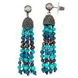 Simply Vera Vera Wang Black & Blue Beaded Tassel Drop Earrings