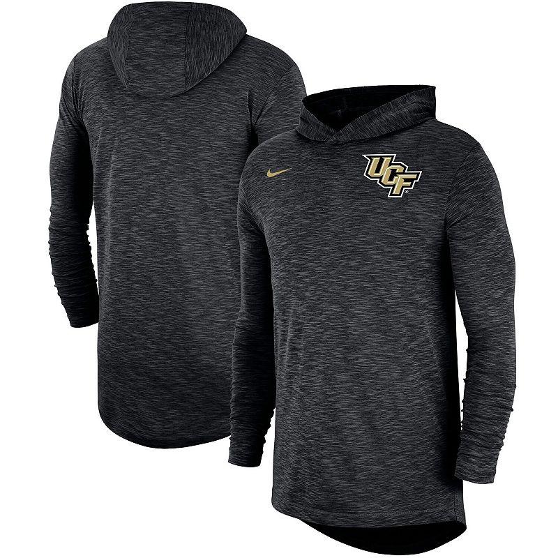 Men's Nike Black UCF Knights Sideline Slub Hoodie Performance Long Sleeve T-Shirt, Size: 2XL