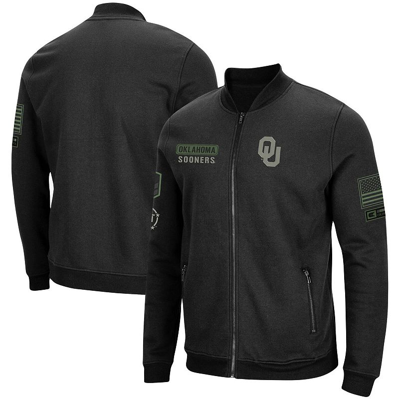 Men's Colosseum Black Oklahoma Sooners OHT Military Appreciation High-Speed Bomber Full-Zip Jacket, Size: Small