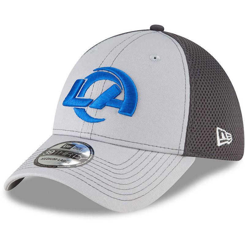 Men's New Era Gray/Graphite Los Angeles Rams Logo Grayed Out Neo 2 39THIRTY Flex Hat, Size: Small/Medium, Grey