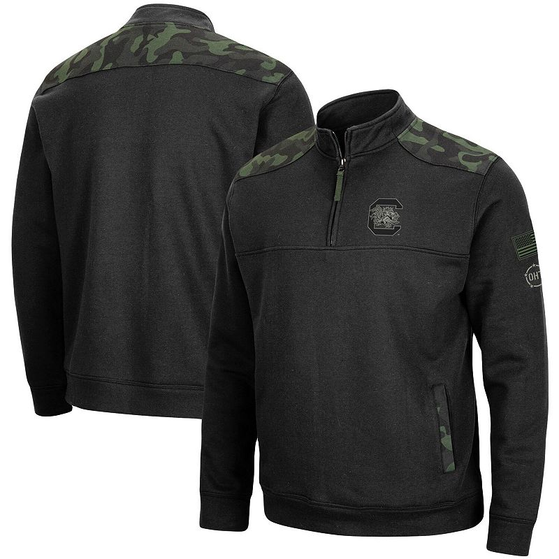 Men's Colosseum Black South Carolina Gamecocks OHT Military Appreciation Commo Fleece Quarter-Zip Jacket, Size: XL