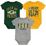 Newborn & Infant Green/Gold/Heathered Gray Green Bay Packers Ready, Set, Nap Three-Pack Bodysuit Set