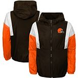 Youth Brown Cleveland Browns Two Man Rush Full-Zip Windbreaker Jacket