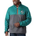 Men's G-III Sports by Carl Banks Aqua/Charcoal Miami Dolphins Advance Transitional Quarter-Zip Jacket
