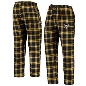 Men's Concepts Sport Black/Gold Pittsburgh Penguins Parkway Flannel Sleep Pants