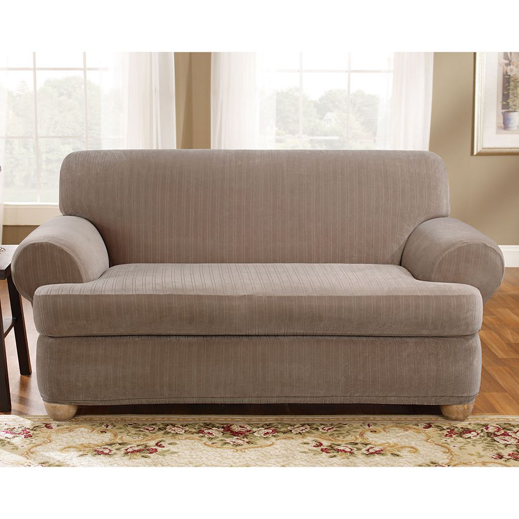 Sure Fit Pin-Striped T-Cushion Loveseat Slipcover