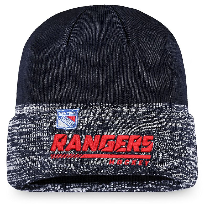 Men's Fanatics Branded Navy New York Rangers Authentic Pro Locker Room Official Graphic Cuffed Knit Hat, Blue