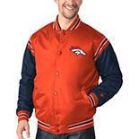 Men's Starter Orange/Navy Denver Broncos Enforcer Satin Varsity Full-Snap Jacket