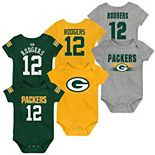 Newborn & Infant Aaron Rodgers Green/Gray Green Bay Packers Name & Number Three-Pack Bodysuit Set