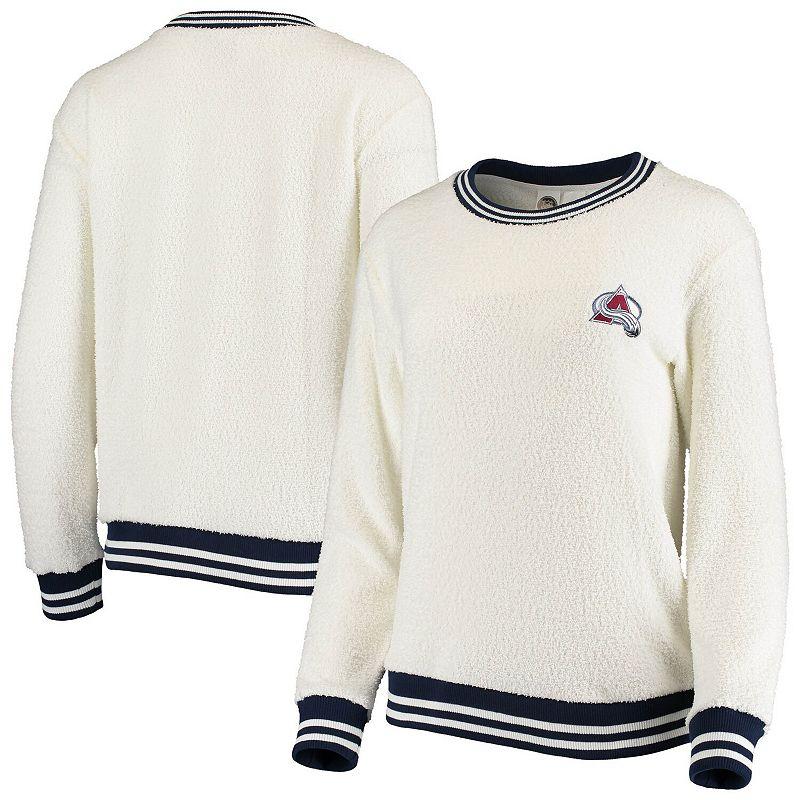Women's Concepts Sport Cream/Navy Colorado Avalanche Granite Sherpa Pullover Sweatshirt, Size: Medium, Beige Over