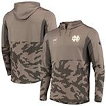 Men's Under Armour Olive Notre Dame Fighting Irish Military Appreciation Quarter-Zip Pullover Performance Hoodie Jacket