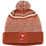 Youth Nike Texas Orange/White Texas Longhorns Sideline Cuffed Knit Hat with Pom