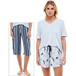 Women's Croft & Barrow® 3-pc. Whisper Luxe Pajama Top, Pajama Shorts & Pajama Capri Set