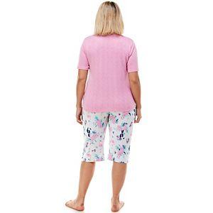 Plus Size Croft & Barrow® 3-pc. Whisperluxe Pajama Top, Pajama Shorts & Pajama Capri Set