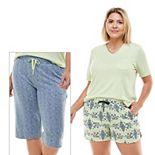 Plus Size Croft & Barrow® 3-pc. Whisper Luxe Pajama Top, Pajama Shorts & Pajama Capri Set