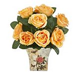 nearly natural Artificial Orange Rose Bouquet Table Decor